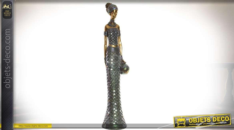 Grande statuette femme africaine effet métal doré et habit de lumière 86 cm