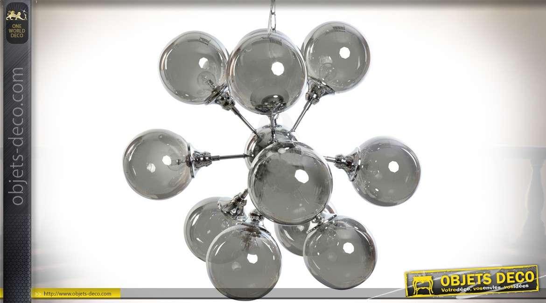 Suspension de luxe en métal chromé et verre fumé gris 12 sphères Ø 73 cm