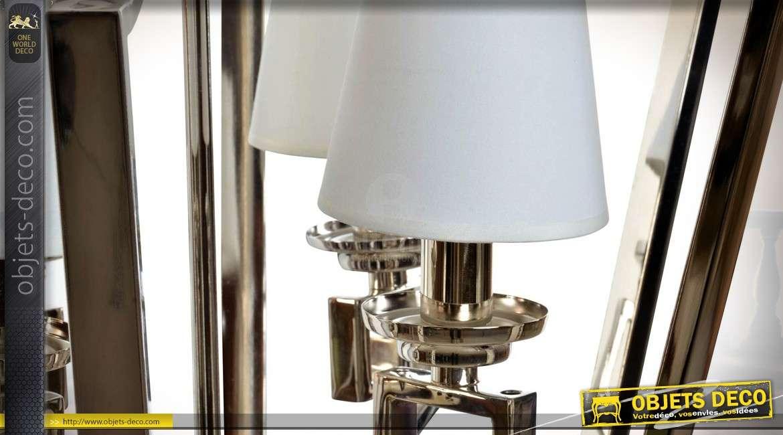 Lustre design cage en forme de lanterne chromée à 4 points de lumière 65 cm