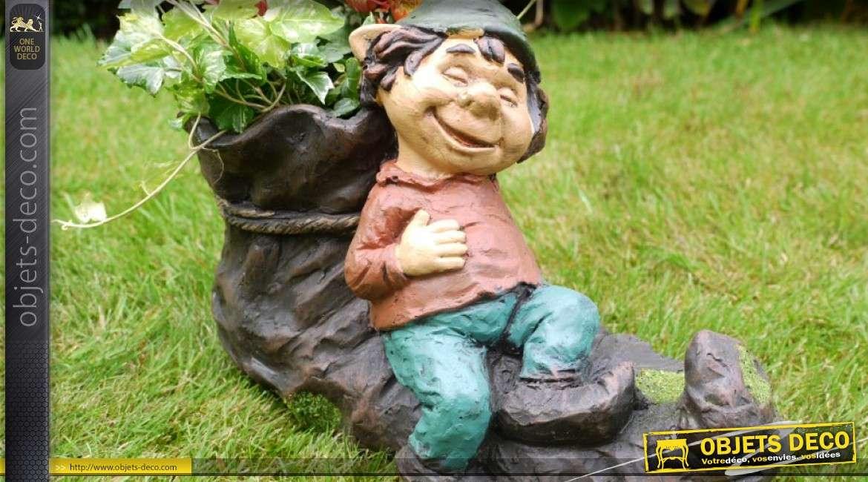 Jardinière décorative en forme de chaussure avec personnage 34 cm