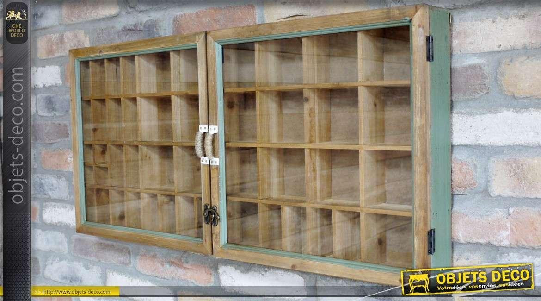 Vitrine murale rétro compartimentée ouvrant sous 2 portes vitrées 90 cm