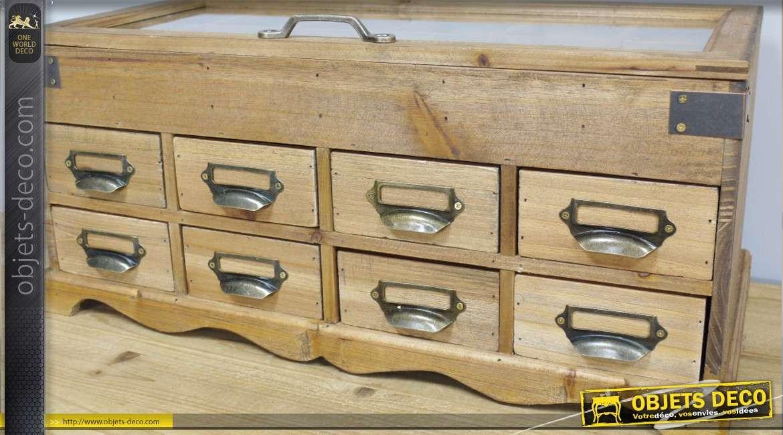 meuble de rangement en bois et m tal avec vitrine et 8 tiroirs 53 cm. Black Bedroom Furniture Sets. Home Design Ideas