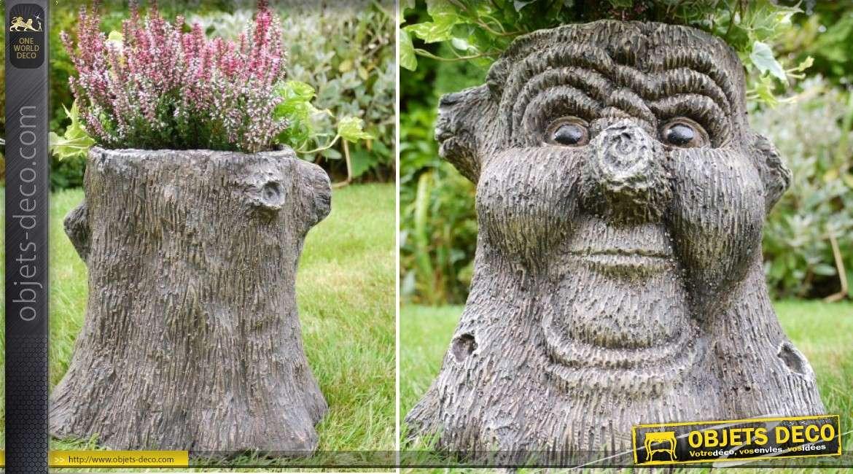 Jardinière en forme de tronc d'abre andromorphique conte ancien