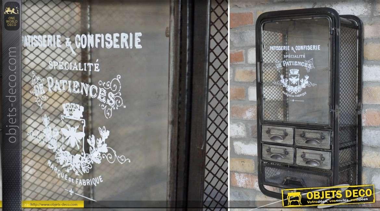 Unité murale vitrine et rangement en métal style indusriel et rétro 65 cm