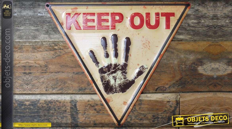 Panneau d'avertissement Keep Out, en métal embossé effet rétro 40 cm