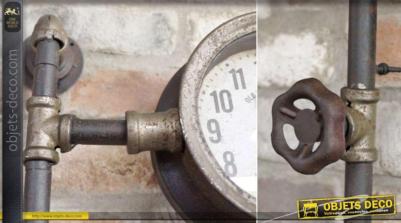 Horloge à 2 cadrans façon compteurs d'ancienne installation de plomberie 69 cm