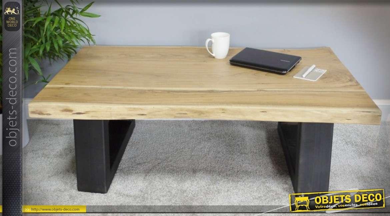 Table Basse En Acacia Massif Et Metal Forme Demi Tonneau Avec