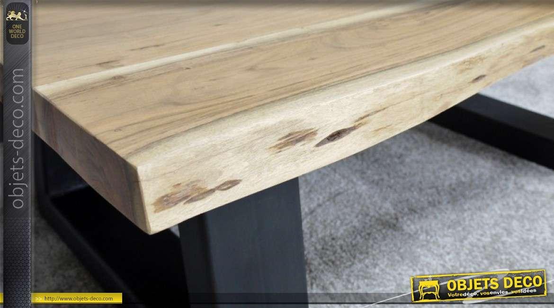 Table basse rustique en métal et acacia massif 120 x 70 cm