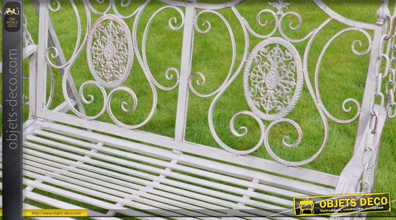 Balancelle de jardin en m tal et fer forg patine gris clair style r tro 230 cm - Balancelle exterieur jardin ...