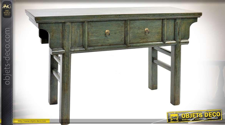 Console de style japonais en orme finition laquée patine verte 115 cm