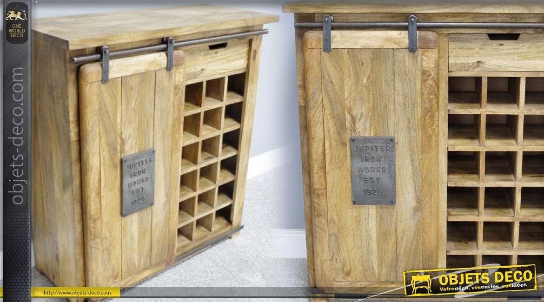 meuble bar bois massif et m tal rustique et indus avec. Black Bedroom Furniture Sets. Home Design Ideas