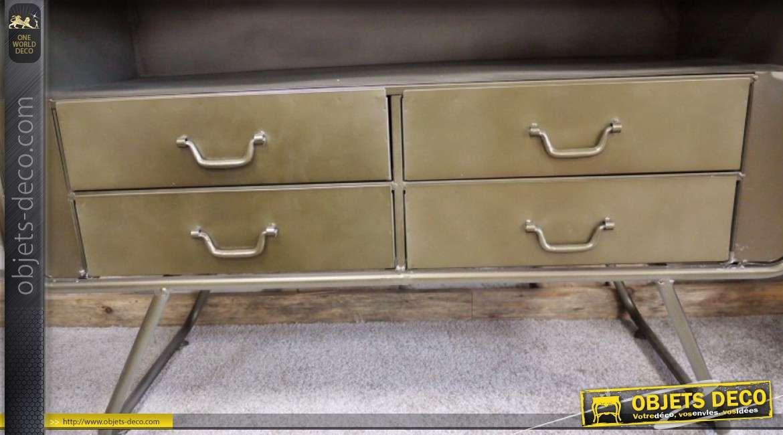 Armoire en métal de style rétro patine dorée avec façade grillagée 180 cm