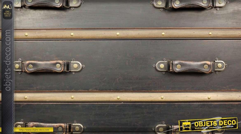Grande commode rétro en forme d'ancienne grande malle de voyage 102 cm