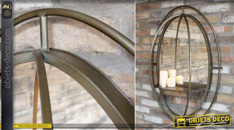 Miroir mural ovale en métal doré avec étagère effet 3D 99 cm