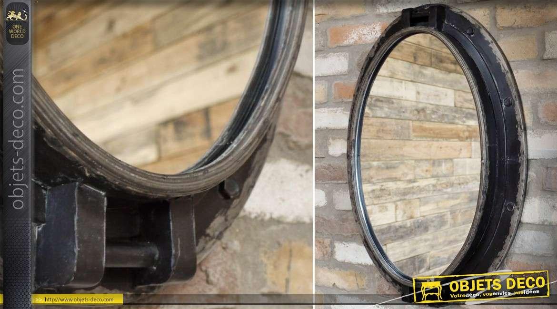 Grand miroir ovale métal style industriel patine noire vieillie 74 cm