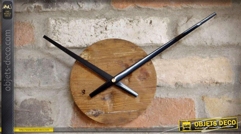 grande horloge murale en bois et m tal design r tro 82 cm. Black Bedroom Furniture Sets. Home Design Ideas