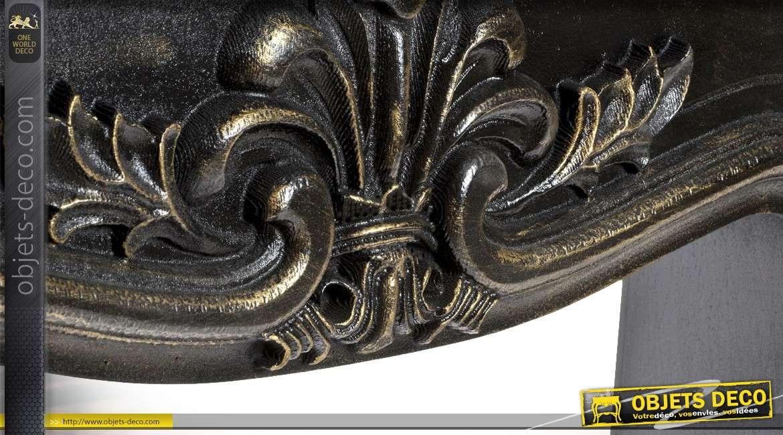 Manteau de cheminée en bois de sapin vieilli patine noire style rétro 130 cm