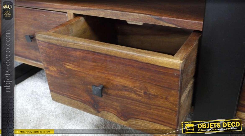 Meuble TV design rustique en acier et sheesham massif avec 4 tiroirs 140 cm