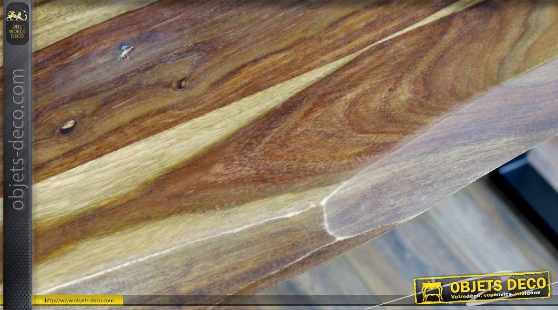 Table bar haute en sheesham massif et métal noir mat (longueur 2 mètres)