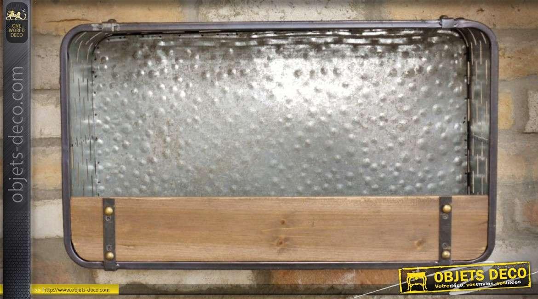 Jardinière étagère murale en métal gris argenté et bois 54 cm