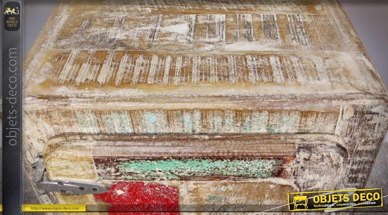 Table de chevet de style brocante en bois recyclé style coffre fort 61 cm