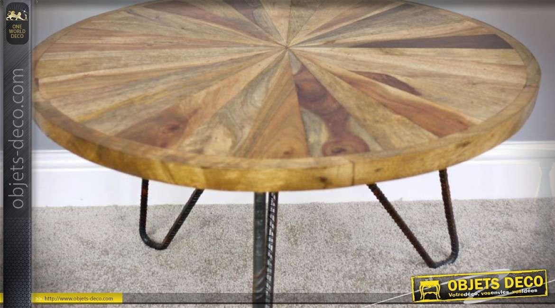 table basse en bois ronde effet rayonnement bois naturel. Black Bedroom Furniture Sets. Home Design Ideas