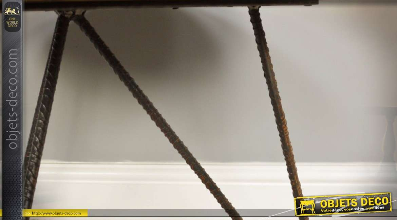 Table basse en bois ronde effet rayonnement bois naturel et fer forgé Ø 61 cm