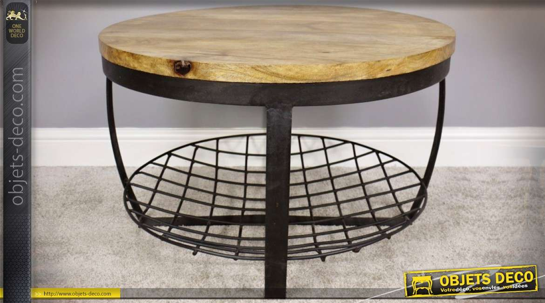 Table basse ronde industrielle et rustique en bois et Table basse ronde bois et metal