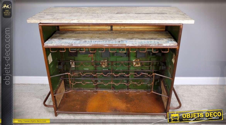 Bar style rétro et brocante en bois et métal avec comptoir et range bouteilles 142 cm