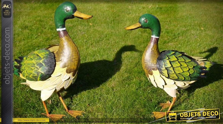 Animal décoratif en métal : grand canard colvert 41 cm