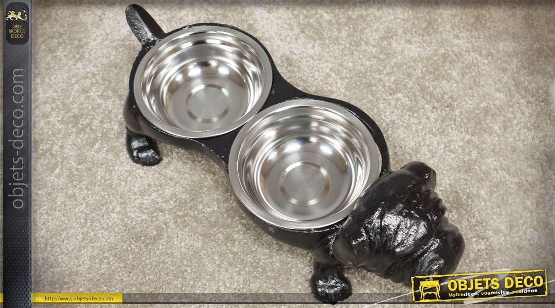 Gamelle en fonte à 2 coupelles en inox pour chien 40 cm