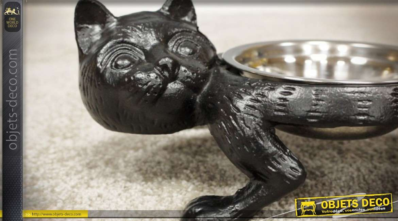 Gamelle en fonte à 2 coupelles en inox pour chat 38 cm