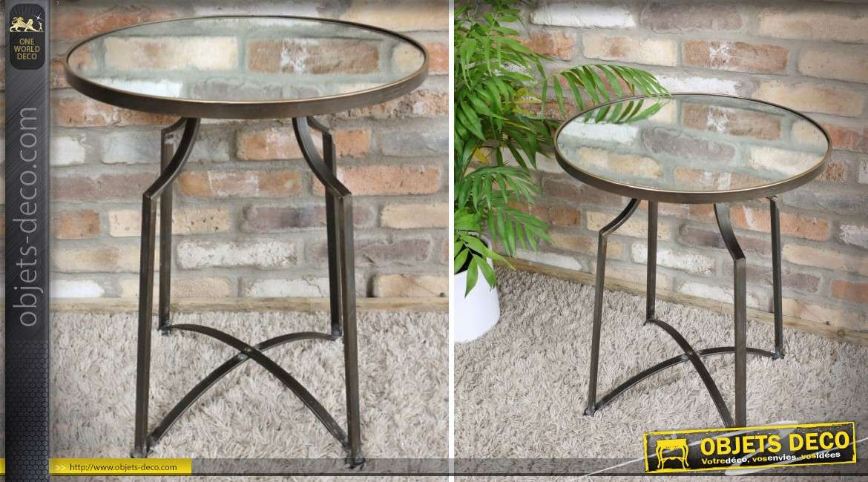 Table bout de canapé ronde en métal doré avec plateau en miroir 62 cm