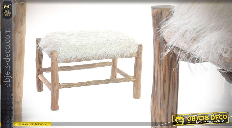 Repose-pieds de style montagnard, en chêne avec revêtement en poils synthétiques