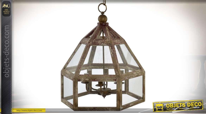 Suspension hexagonale rétro en bois et métal à six feux aspect brocante Ø 54 cm