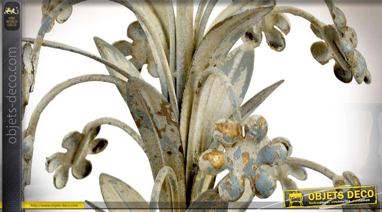 Lustre métal forme bouquet de fleurs 4 points de lumière patine beige vieillie Ø 45 cm
