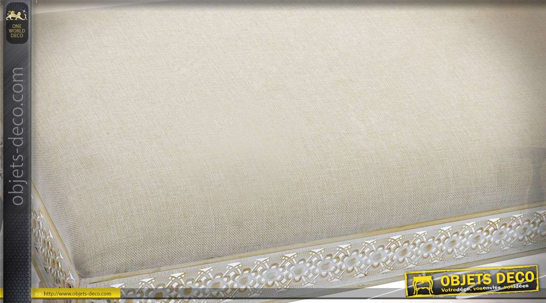 Banquette en métal et lin de style moucharabieh blanc et doré