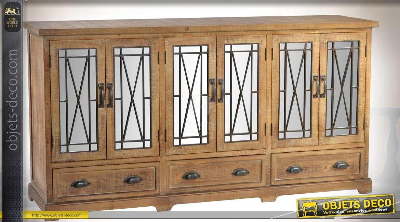 Enfilade à six portes et 3 tiroirs style rustique avec façades en miroirs et métal 180 cm