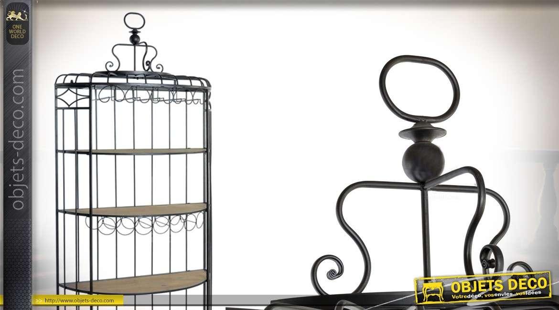 Grande étagère Porte Bouteilles En Forme De Grande Cage En Bois Et Métal