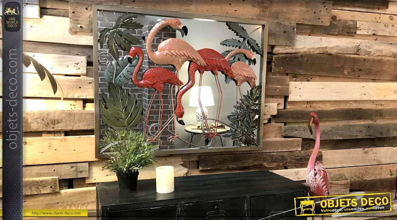 Miroir avec déco en métal de flamands roses à l'état sauvage 89cm