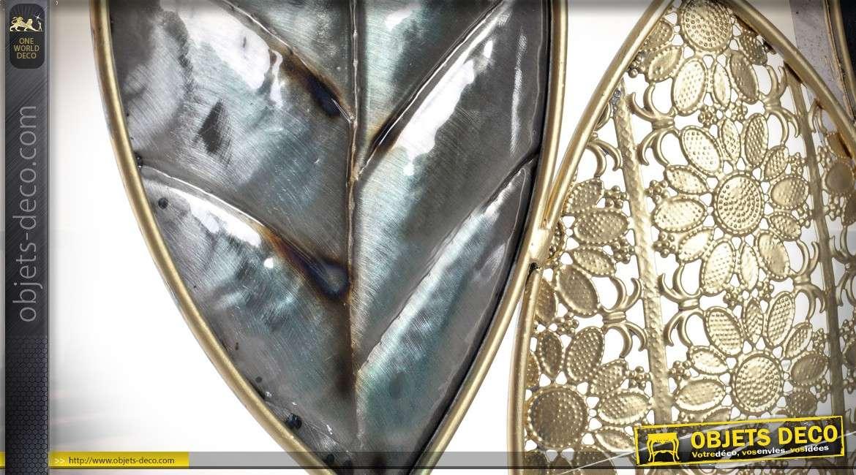 Déco Murale En Métal Motifs Feuilles Anthracites Et Dorées 91cm