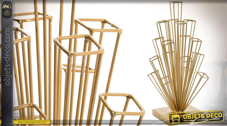 Statuette moderne, géométrique et abstraite en métal doré 37 cm
