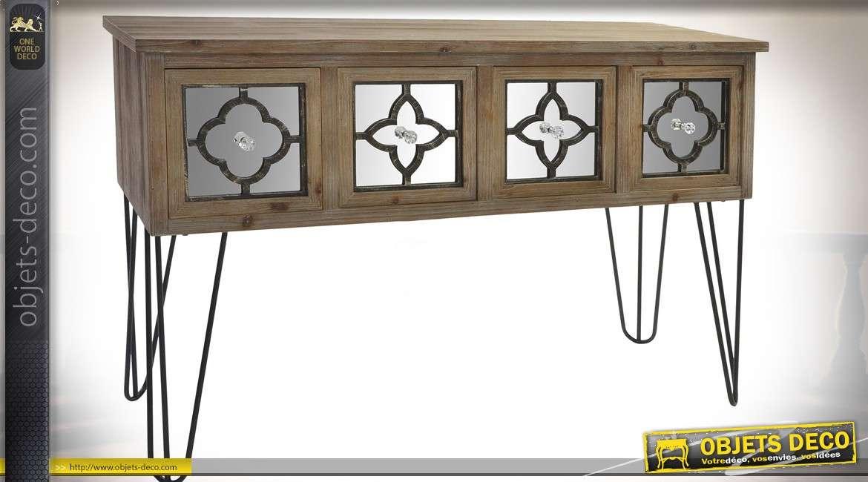 Console rustique chic en bois et métal avec 4 tiroirs à façades en miroir
