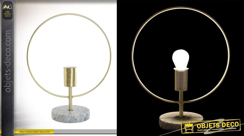 Lampe design circulaire collection Precious lamps en métal et marbre 38 cm