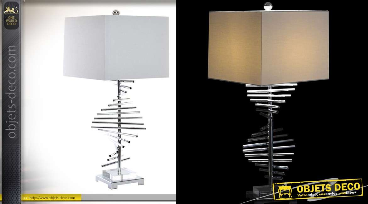 Lampe de table design Collection Precious Lamps en metal chromé et abat jour en lin