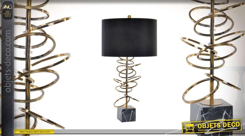 Lampe de table moderne Collection Precious Lamps en métal, marbre et lin 74cm