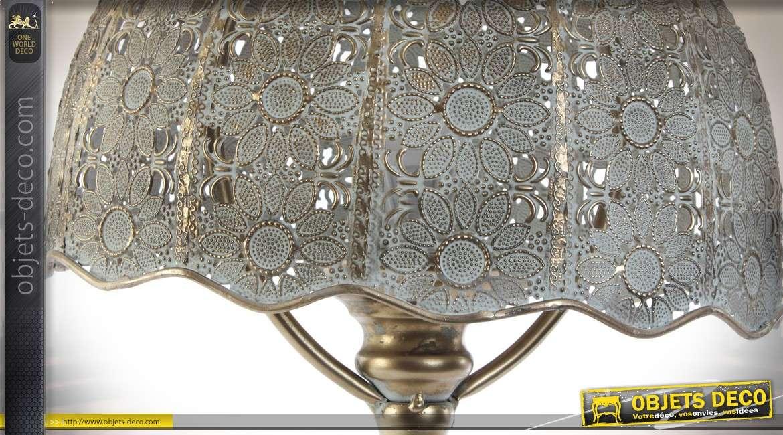 Lampe de table en métal de style oriental moucharabieh vieux doré