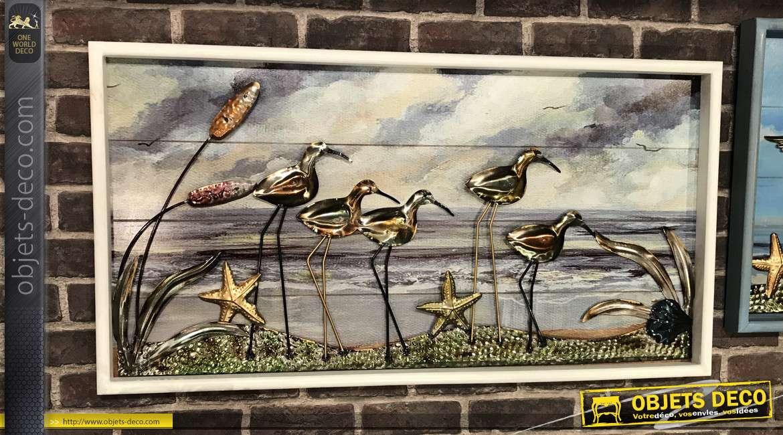 Série de 2 tableaux muraux bois et métal thème oiseaux marins 95 cm