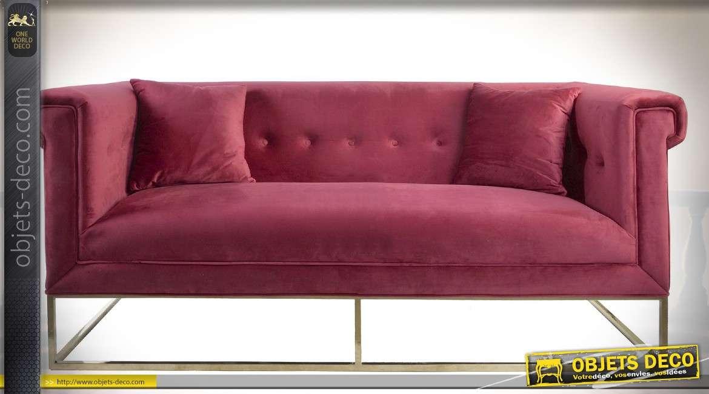 Canapé contemporain design tissu pourpre piètement métal doré 189 cm