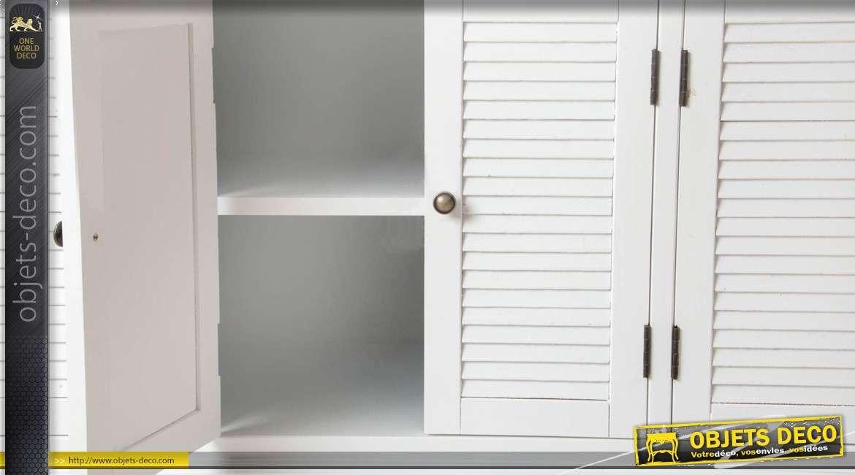Grande blibliothèque blanche avec 6 portes et 3 tiroirs style cottage 204 cm